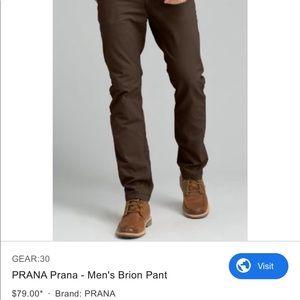 Prana Mens Brion Pant Coffee Bean 33x30